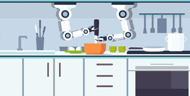 Intelligenter handlicher kochroboter, der omelett, das eier schlägt, in schüsselbehälterroboterassistentinnovationstechnologie künstliches intelligenzkonzept moderne kücheninnenraum horizontal vorbereitet