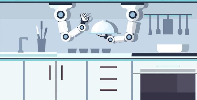 Intelligenter handlicher kochroboter, der serviertablett hält, das lebensmittelroboterassistent innovationstechnologiekonzept der künstlichen intelligenz des modernen kücheninnenraums horizontal vorbereitet