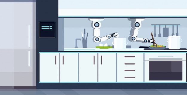 Intelligenter handlicher kochroboter, der spiegeleier und omelettroboterassistent innovationstechnologie künstliche intelligenzkonzept modernes kücheninnenraum horizontal vorbereitet