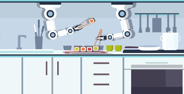 Intelligenter handlicher kochroboter, der sushi unter verwendung von essstäbchen roboterassistent innovationstechnologie künstliche intelligenz konzept moderne küche innenraum horizontal zubereitet