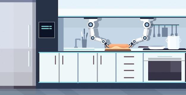 Intelligenter handlicher kochroboter, der teig an bord rollt roboterassistent innovationstechnologie konzept der künstlichen intelligenz des modernen kücheninnenraums horizontal