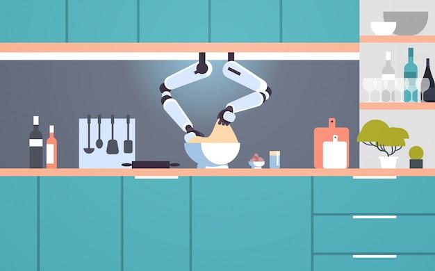 Intelligenter handlicher kochroboter, der teig in schüssel macht roboterassistent innovationstechnologie künstliche intelligenz konzept moderne küche innenraum flach horizontal