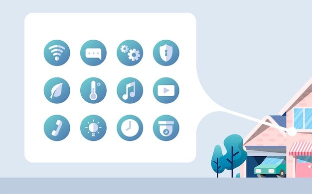 Intelligenter hauptvektorsatz mit ikonen