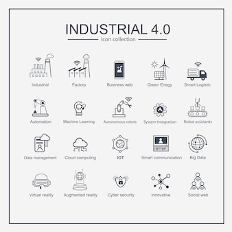 Intelligenter industrieproduktionsikonensatz der industrie 4.0.