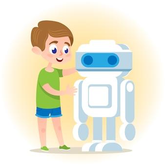 Intelligenter junge mit roboter.