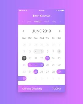 Intelligenter konzept-vektor des kalender-app ui