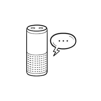Intelligenter lautsprecher mit sprechblase handgezeichnetem umriss-doodle-symbol. sprachsteuerung, spracherkennungskonzept. vektorskizzenillustration für print, web, mobile und infografiken auf weißem hintergrund.