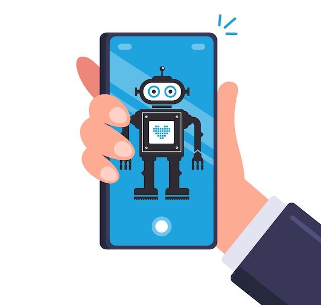 Intelligenter roboter im männer-smartphone. android auf einem mobilen gerät. flache illustration.
