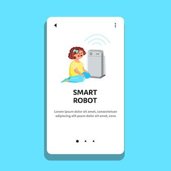 Intelligenter roboter in anbetracht des kleinen mädchen-kind-vektors. intelligente roboter-digital-ausrüstung, die kleines kind sucht. charakter-baby und futuristische elektronische computer-modell-web-flache cartoon-illustration