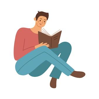 Intelligenter student, der sich zu hause auf die prüfung vorbereitet, junger mann, der das buch männlicher leser sitzt und liest