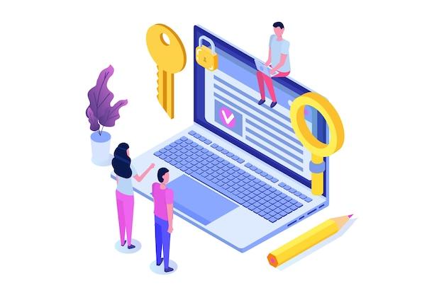 Intelligenter vertrag, isometrisches konzept der digitalen signatur. blockchain-technologie.