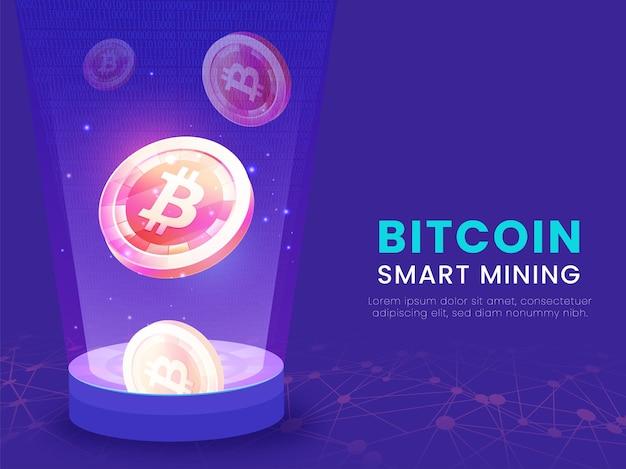Intelligentes bitcoin-mining-konzept mit abstrakter digitaler technologie-violetter hintergrund.