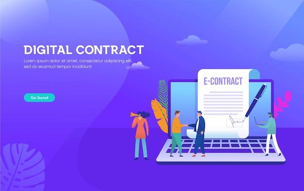 Intelligentes digitales vertragsillustrationskonzept, geschäftsmann, der online-vertragsvereinbarung mit laptop unterzeichnet