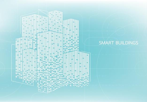 Intelligentes gebäudekonzeptdesign für die intelligente nutzung von web, magazinen oder postern in der stadt. vektor-illustration