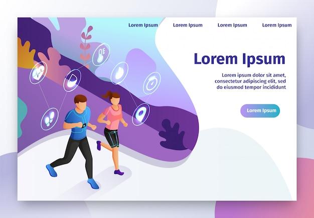 Intelligentes gerät für fitness-isometrische vektor-website