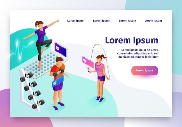 Intelligentes gerät für sport-isometrische vektor-website