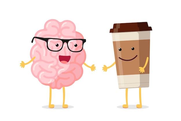 Intelligentes glückliches lächelndes menschliches gehirn der karikatur mit gläsern und heißem getränkkaffeecharakter der tasse. das organ des zentralen nervensystems wacht auf, lustiges konzept des guten morgens. flache vektorillustration