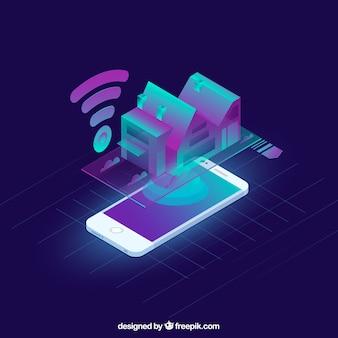 Intelligentes Haus in der isometrischen Art