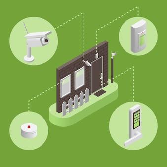 Intelligentes haus, intelligente sicherheitssystem-infografikillustration. sicherheitssystemkonzept.