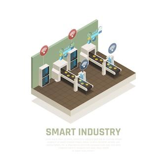 Intelligentes industriekonzept mit isometrischer illustration der modernen technologiesymbole