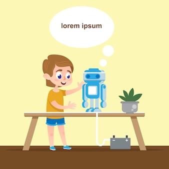 Intelligentes kind mit sprechendem roboter-modell.