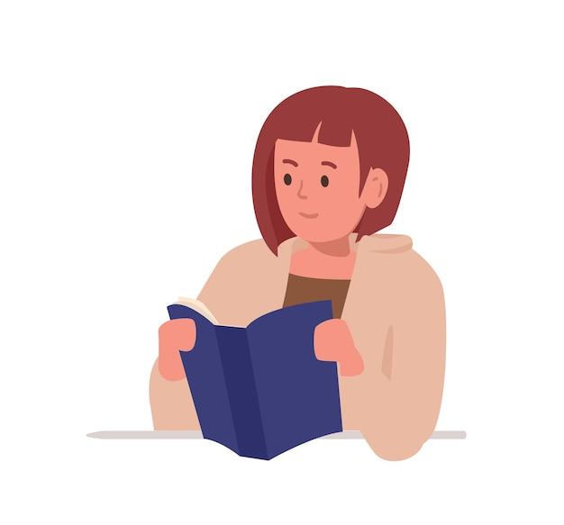 Intelligentes mädchen, das am schreibtisch sitzt und das buch lokalisiert auf weißem hintergrund liest. student oder schüler, der hart lernt, sich auf einen schultest oder eine prüfung vorbereitet, hausaufgaben macht. flache cartoon-vektor-illustration.