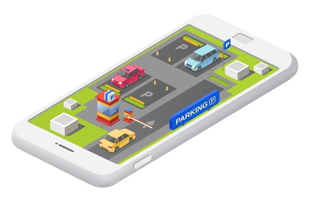 Intelligentes parkenkonzept mit parkplatz mit autofahrzeugparkplatzkarte