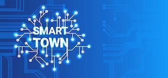 Intelligentes Stadt-Technologie-Kontrollsystem-Ikone Infographic