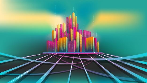 Intelligentes stadtmodell, abstraktes konzept. gruppe des bunten gebäudes auf der basis, die an funkelnstraße anschließt