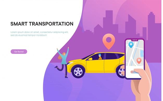 Intelligentes stadttransportvektor-illustrationskonzept, on-line-carsharing mit zeichentrickfilm-figur und smartphone