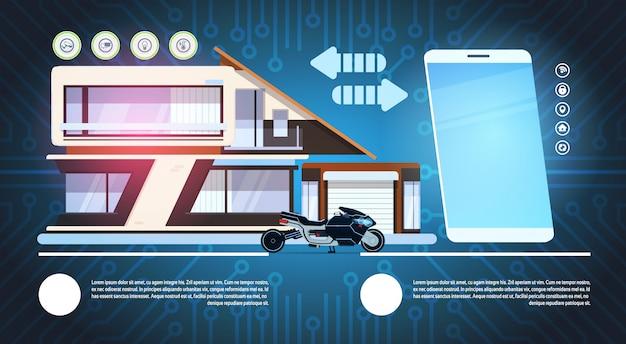 Intelligentes telefon über intelligenter haus-hintergrund-moderner technologie des hausautomations-konzeptes