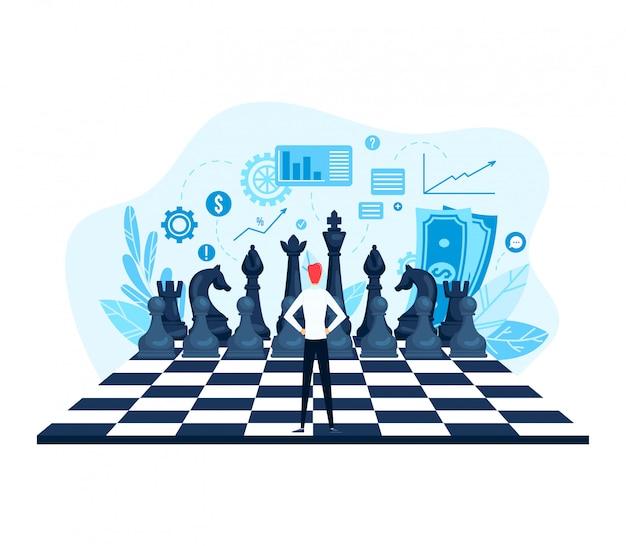 Intelligentes unternehmensspiel, industrielles schachspiel des wettbewerbs, winziger charakter-geschäftsmann-führungsmarkt isoliert auf weißer, flacher illustration.