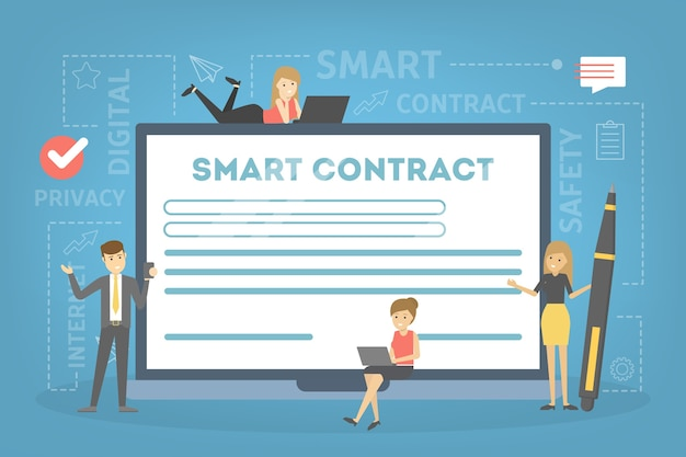 Intelligentes vertragskonzept. digitales geschäftsdokument mit elektronischer signatur. moderne technologie und blockchain. illustration