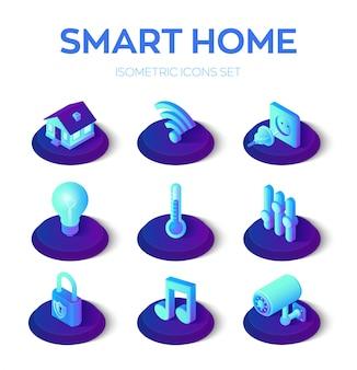 Intelligentes zuhause. 3d isometrische symbole festgelegt. remote-haussteuersystem. iot