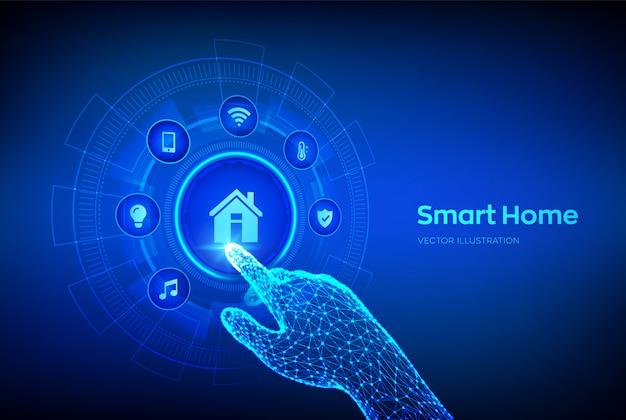 Intelligentes zuhause. konzept des automatisierungssteuerungssystems auf einem virtuellen bildschirm. roboterhand, die digitale schnittstelle berührt.