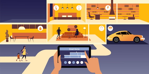 Intelligentes zuhause. steuern von iot-appliances mit einem tablet über ein netzwerk.