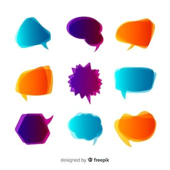 Intensiv gefärbte sprechblasen mit farbverlauf
