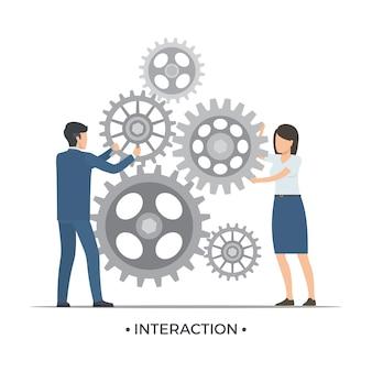 Interaktion menschen und zahnräder