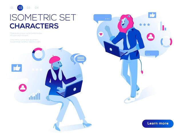 Interaktion mit grafiken, symbolen und geräten. datenanalyse und illustration von bürosituationen.