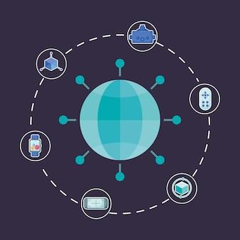 Interaktivitätssymbol und mit der virtuellen realität verbundene symbole