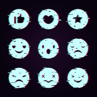 Interessante glitch emojis sammlung