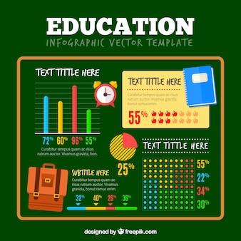 Interessante infografik über bildung über grünem hintergrund