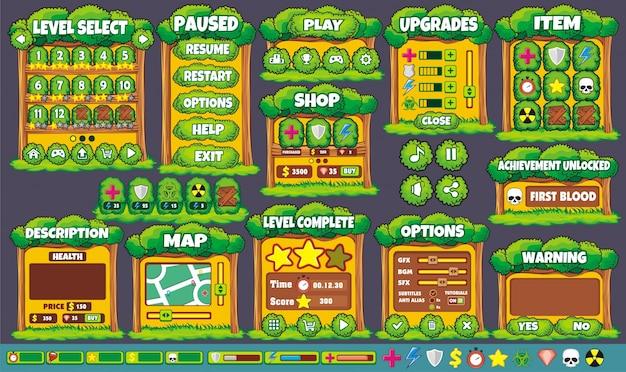 Interface spieldesign. alle bildschirme, die sie zum erstellen von 2d-spielen benötigen