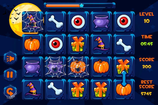 Interface-spiele, symbole und schaltflächen im halloween-stil