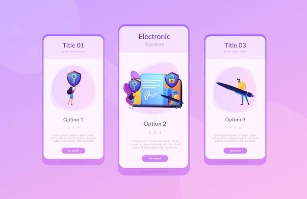 Interface-vorlage für app mit elektronischer signatur
