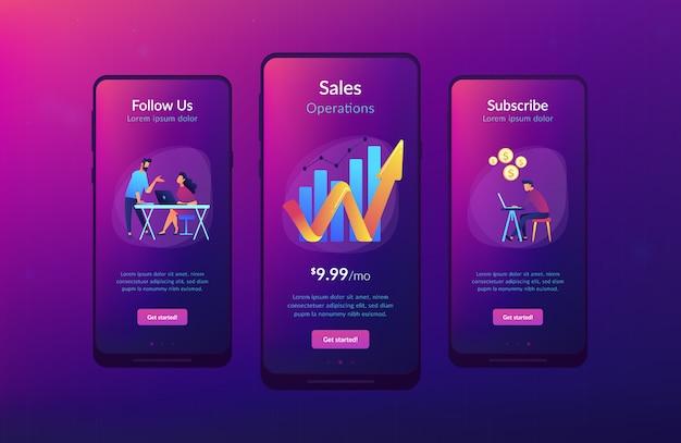 Interface-vorlage für die app für umsatzwachstum