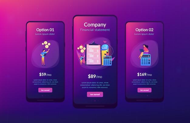 Interface-vorlage für die app zur gewinn- und verlustrechnung