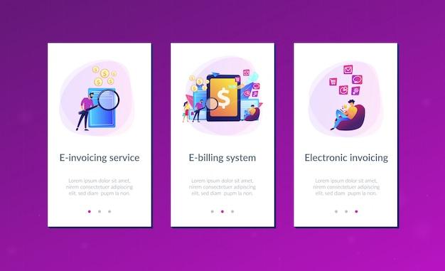 Interface-vorlage für die e-invoicing-app