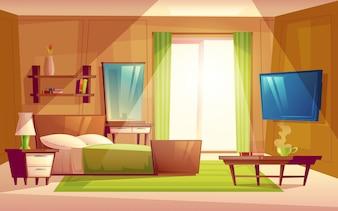 Interieur aus gemütlichen modernen Schlafzimmer, Wohnzimmer mit Doppelbett, TV, Kommode