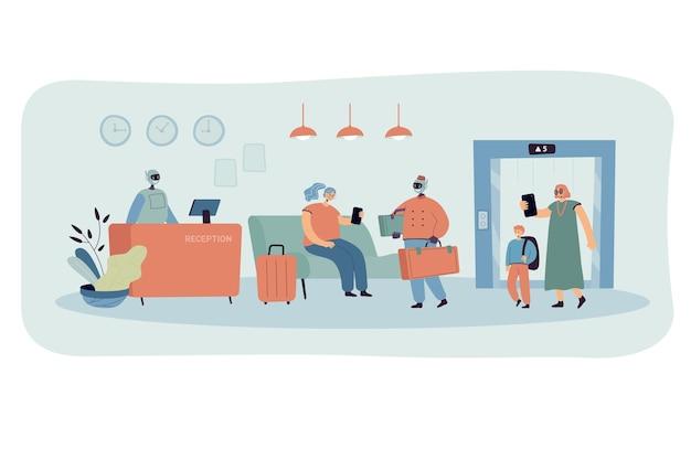 Interieur der cartoon-hotellobby und roboterpersonal